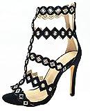 Calaier Mujer Catxai Tacón De Aguja 11CM Sintético Cremallera Sandalias de Vestir Zapatos, Negro, 41