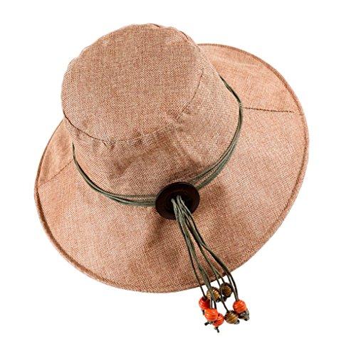 Lidahaotin Holzperlen-Dekor-Frauen-Mädchen-Sommer-Wide Brim Hat Faltbare großen Hut beiläufige Strand Sonnenhut Kappebeanie Licht Kaffee - Individuelle Kaffee-pakete