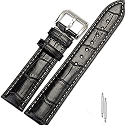 RollsTimi 20mm Black Genuine Leather Watch Strap With Stainless Steel Buckle Watch Band