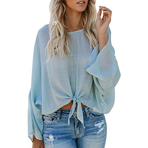 OSYARD Damen Solid Rundhalsausschnitt Verband Shirt, Frauen Damen Casual Langarm Verband Rundhalsausschnitt Tops Bluse Pullover Shirt (L, Hellblau)