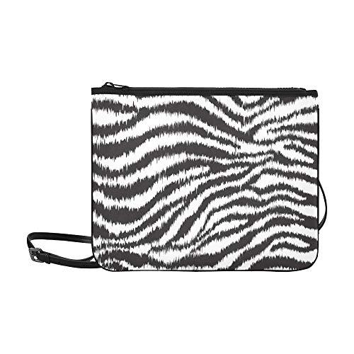 WOCNEMP Zebra-Schwarzweiß-Streifenmuster Benutzerdefinierte hochwertige Nylon-dünne Clutch-Tasche Umhängetasche mit Umhängetasche (Zebra Nylon Handtasche)