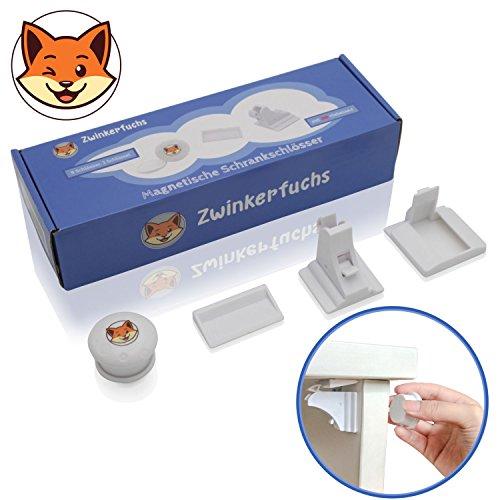 Unsichtbare Kindersicherung von Zwinkerfuchs® - Magnetschloss-Set zur Schubladensicherung und Schranksicherung - 8 Schlösser, 2 magnetische Schlüssel, 2 Schlüsselhalter, Ersatzklebebänder - weiß
