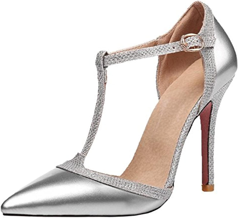 RAZAMAZA Mujer Moda Stiletto Correa en T Sandalias -
