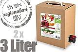 Apfel-Karotte-Rote Bete - Prignitzer Frühstückssaft - 100% Direktsaft 2er Pack (2 x 3 Liter, Bag in Box mit Zapfhahn)