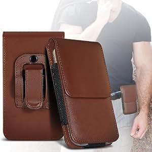 ONX3 Samsung Galaxy S4 Zoom Schutzkleidung PU Leather Pouch Belt magnetischen Holster Flip Case Skin Cover (Braun)
