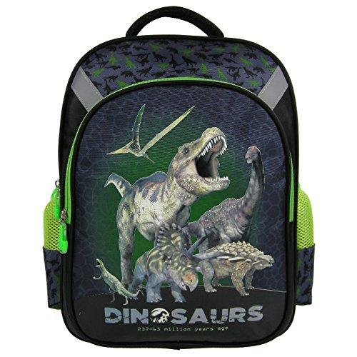 DINOSAURIER - Rucksack / Schulrucksack - für DIN A4 - Motiv: Tyrannosaurus Rex, Triceratops, Brachiosaurus + 16 Dinosaurier Aufkleber (Velociraptor Dinosaurier Kostüm)