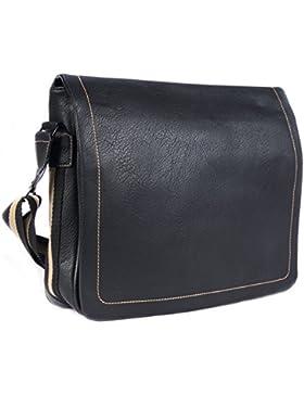 Businesstasche für Männer | schwarz | Qualität Kunstleder | Universität Tasche | Schultasche | Collegetasche |...