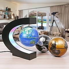 Idea Regalo - MECO 3 Palle Mappamondo Magnetica Globe Levitazione Luminoso Mappa del Mondo Levitante con Luce Colorata LED Decorazione Della Ufficio Regali d'affari Studente Educazione Lampadina Epifania