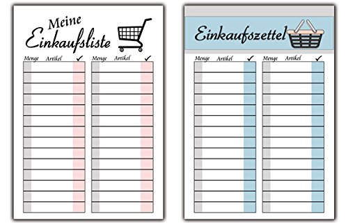 Einkaufsliste Einkaufszettel Im SET 2 Stück Als Block Notizblock Für Zu  Hause Handtasche Was Fehlt Im Kühlschrank Haushalt Küche Einkaufsblock Plan  ...