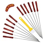 12pcs BBQ Skewers set,Stainless Steel Metal Barbecue Kabob Sticks and BBQ Basting Pastry Brush with Heat-resisting handle- Pefect for Shish Kabob, Grill