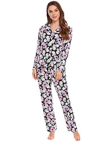ADOME Damen Lang Pyjama Blumen Langarm Schlafanzug Blumendruck Zweiteiliger Hauszug Schwarz571