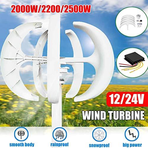 XDDWD Lanterna del generatore Eolico a turbina,12 / 24V Lanterna del generatore a turbina eolica Kit Motore a 5 Pale ASSE Verticale con Controller per Illuminazione Stradale Principale, 2200W,12v