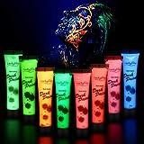Luckyfine 8 x 28g Pintura Corporal y Facial - UV Glow, Pintura Neón Fluorescente 8 Colores UV Luz Fosforescente - Adecuada para Niños y Adultos, Maquillaje de Fiesta, Cumpleaños, Halloween, Navidad