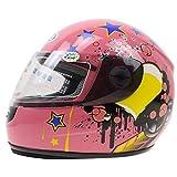 HUOYAN 3-12 Jahre Kinder Motorradhelm Vorne Voller Motorradhelm 6 Farben Erhältlich Größe 48-52 cm Motorradhelm for Den Ganzjährigen Einsatz (Color : Pink, Size : S)