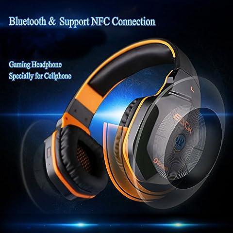 bluetooth4.1Wireless Stereo NFC Geräuschunterdrückung Gaming Kopfhörer Headsets–Über Ohr schnurlose Kopfhörer mit 3,5mm mit Kabel Audio in, NFC Wasserhahn zu verbinden und integriertem Mikrofon Kompatibel mit Smartphones, Laptops, Tablets, PS4/PS3und Xbox 360(Mikrofon ist nicht erhältlich für PS4/PS3und Xbox