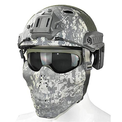 WLXW Tactical Quick Helm Und Doppelter Schultergurt Halbe Gesichtsmaske Mit Schutzbrille Air Gun Paintball Schutzausrüstung, CS Game Hunting Suit,ACU