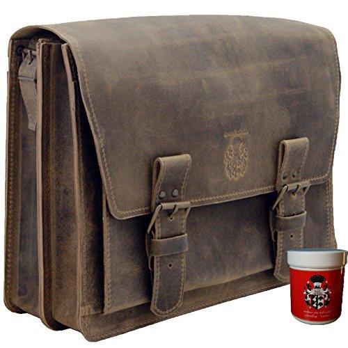 BARON de MALTZAHN Sac à bandoulière MAGELLAN cuir brun - Fabriqué en Allemagne + soins en cuir