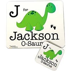 Infantil Personalizado Dinosaurios Tema Mantel individual y posavasos para niños