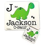 Mantel individual y posavasos para niño, diseño de dinosaurio personalizado