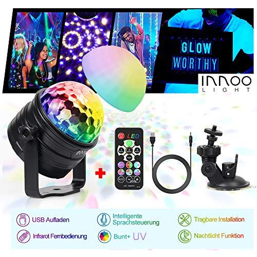 Partylicht Discokugel Nachtlicht Innoo Tech LED Lichteffekt RGBW+UV mit Lampenschirm & Saugnapf, Musikgesteuert Discolicht mit Kombinierter Lichteffekt für Kinder, Drinnen und draußen, Festival