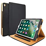 iPad Air Hülle - iPad PU Leder Smart Schutzhülle Cover Case mit Ständer Funktion und Auto-Einschlaf/Aufwach für Apple iPad Air / iPad Air 2(Modellnumber A1474 A1475 A1476 A1566 A1567) - Schwarz
