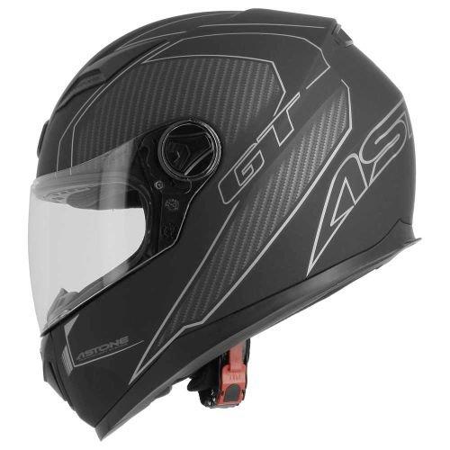 Astone Helmets - Casque intégral GT2 Graphic Karbon - Casque idéal milieu urbain - Casque intégral en polycarbonate - Black/grey M
