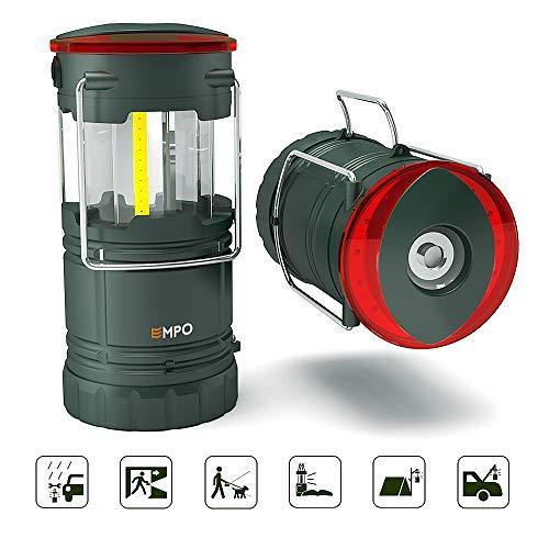 EMPO LED Camping Laterne für den Außenbereich und Notfälle - Ultra hell, langlebig, und komplett zusammenklappbar - Magnetische Laterne, Notfall-Leuchte und Blinklicht in Einem - Olive grün -