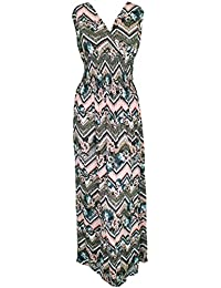 Mevina Damen Kleid Gipsy Hippie Ibiza Muster mit V-Ausschnitt lang Sommerkleid Multicolor süßes Urlaubskleid