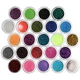 Royalkart 24Pcs/Set Shinning Mirror Nail Glitter Powder Eye Shadow Magic Glimmer Nail Art Chrome Pigment Glitters Spangle Makeup Cosmetic (Random Colours)