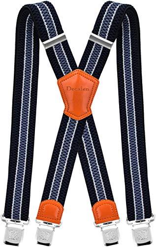 Decalen Hosenträger für Herren Breit 4 cm mit sehr Starken 4 Metall Clip Lang Einheitsgröße für Männer und Damen Einstellbar und Elastisch X Style (Marineblau Weiß Hellblau 1)