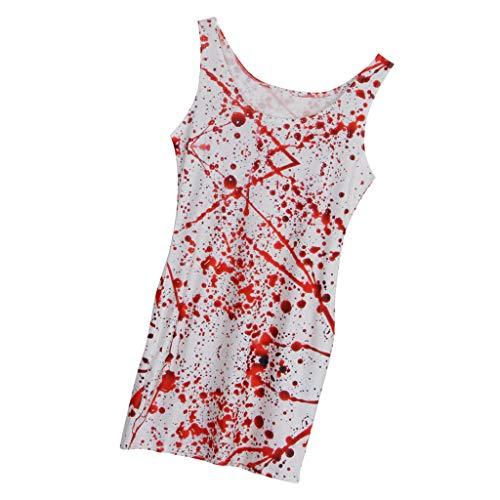 Fenteer 3D Bedrucktes Blutiges Kleid Halloween Kleid Zombie Cosplay Kostüm (Krankenschwester Zombie Halloween Geist)