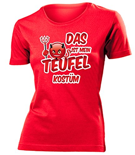 Teufel Funny Kostüm - Teufelskostüm Teufel Kostüm Kleidung 4469 Damen T-Shirt Frauen Karneval Fasching Faschingskostüm Karnevalskostüm Paarkostüm Gruppenkostüm Rot S