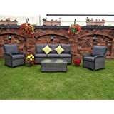 HGG Rattan Outdoor Garden Patio Furniture Sofa Set - 5 Seater - Mixed Grey Wicker Weave