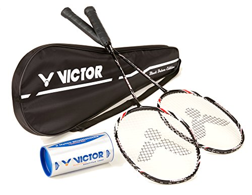 VICTOR Badminton Set, 2x VICTEC 500 Black Edition / Racketbag / 3x Nylonball