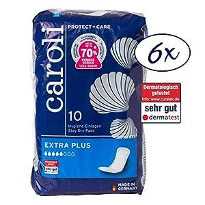 Caroli® Protect + Care Hygiene-Einlagen, Extra Plus, Vorteilspack (6 x 10 Stück), hautfreundlich und angenehm an der Haut, fü rmittlere Blasenschwäche