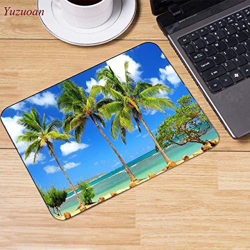 Strand Meer Palme Landschaft Mauspad Mauspad Dekoration auf Ihrem Schreibtisch Computer und Büro rutschfeste Gummiauflage Mauspad | Hochauflösende Fotos CLIPARTO 22x18cm