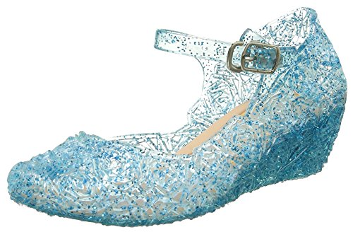 A Cinderella Absatz-Schuhe Blau Kinder Glanz Weihnachten Verkleidung Karneval Party Halloween Fest ()