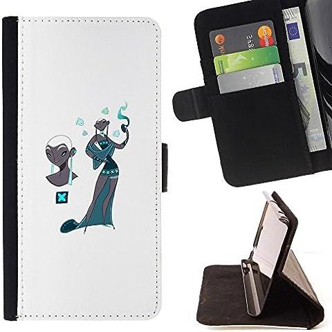 Momo Phone Case/Custodia in pelle a portafoglio con carte di credito–Kashmir Teal Fashion White–Samsung Galaxy Core Prime