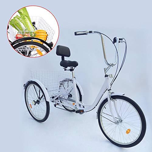 OUBAYLEW 24'Triciclo Bianco con Cestello per Adulto Triciclo per Adulto 6 velocità 24 Pollici