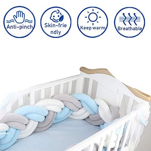 FZYQY Bettschlange Geflochten Kinderbett Knotenkissen Bettumrandung Stoßstange Baby Nestchen Weben Bettumrandung Kantenschutz Kopfschutz,Gray+Blue,3meters -