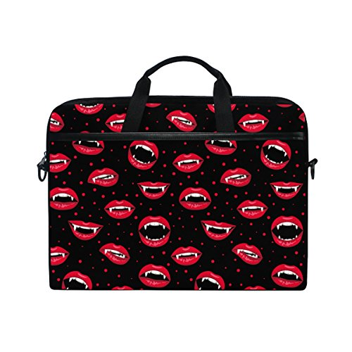 jstel Halloween rot vampir Lippen Laptop Schulter Messenger Tasche Fall Sleeve für 35,6cm zu 39,6cm mit verstellbarer Notebook Schultergurt