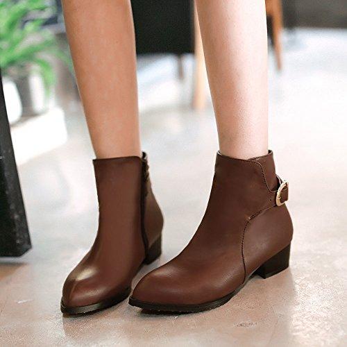 ZQ@QX Codice dimensione calzature donna _dimensioni con grassetto, con elegante fibbia di chiusura lampo laterale, stivali nude brown