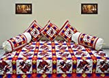 #9: Supreme Home Collective ethnic design red color cotton diwan set 6pcs ( 1 bedsheet,3 cushion cover, 2 bolster)