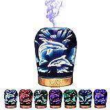 Nibesser 3D Delphin Aroma Diffuser 100ml Aromatherapie Diffusor Ultraschall Luftbefeuchter Abschaltautomatik Raumbefeuchter mit 7 LED Farbwechsel für Babies Yoga Kinderzimmer Schlafzimmer Büro