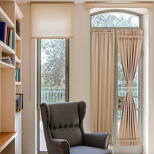 Französische Tür Vorhänge Schwarz Verdunkelung Terrasse Tür Vorhang Panel für Privatsphäre 25Wx72L One Panel Khaki