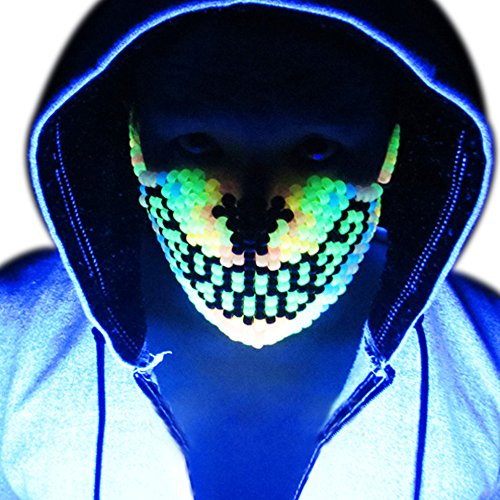 Glow in the Dark Rainbow Wolf Kandi Mask by Kandi Gear, rave mask, halloween mask, beaded mask, bead mask for music fesivals and (Rainbow Morphsuit)