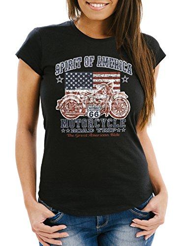 Neverless Damen T-Shirt, Biker Shirt, Amerika Flagge Motorrad Motorbike, Aus Baumwolle Schwarz L (Shirt Damen Motorrad)