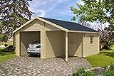 Holzgarage H90 - 44 mm Blockbohlenhaus, Grundfläche: 23,10 m², Satteldach