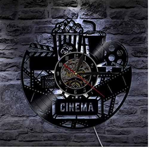 Yang Jingkai Cinema Vinyl Record Reloj de Pared Diseño Reloj Película de Cine Reloj de Pared Reloj de Tiempo Coca-Cola de Palomitas de maíz para Amante de la película Regalo-LED