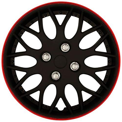 AutoStyle KT970-13MBK + R Set Copricerchio Missouri 13 Nero Opaco/Cerchio Rosso, 4 pezz